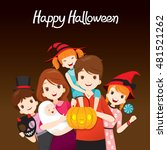 family happy halloween together ... | Shutterstock .eps vector #481521262
