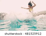 pool fun. beautiful young woman ... | Shutterstock . vector #481525912