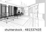 house building sketch  3d...   Shutterstock . vector #481537435