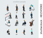 isometric flat businesspeople... | Shutterstock .eps vector #481545082