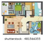 colorful floor plan of an... | Shutterstock .eps vector #481566355