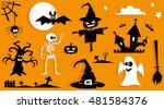 set of funny halloween symbol.... | Shutterstock .eps vector #481584376