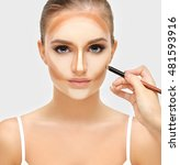 contouring.make up woman face.... | Shutterstock . vector #481593916