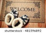 doormat in vintage style with... | Shutterstock . vector #481596892