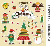 vintage christmas card  xmas... | Shutterstock .eps vector #481632616