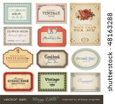 Stock vector vector set vintage labels inspired by antique originals 48163288