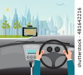 human hands driving a car with... | Shutterstock .eps vector #481642216