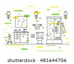 bathroom with sink  bowl ... | Shutterstock .eps vector #481644706