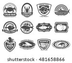 retro seafood logo  emblems and ... | Shutterstock .eps vector #481658866