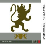 hand drawn heraldic lion.... | Shutterstock .eps vector #481665958
