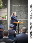 Small photo of NEW YORK - SEPT 9 2016: New York PBA President Pat Lynch speaks at the NYPD Emerald Society Pipe and Drums 9/11 Memorial Commemoration Service marking the 15th anniversary of the terror attacks.
