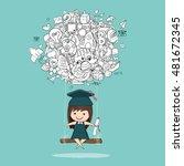 girl graduated pupils swinging... | Shutterstock .eps vector #481672345
