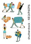 moving home vector illustration.... | Shutterstock .eps vector #481696096