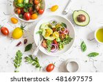 fresh salad with tomatoes and... | Shutterstock . vector #481697575
