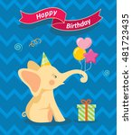 happy birthday card with cute...   Shutterstock .eps vector #481723435