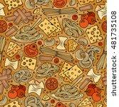 cartoon cute hand drawn italian ... | Shutterstock .eps vector #481735108