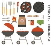 barbecue tools collection. bbq... | Shutterstock .eps vector #481735186