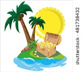 treasure in tropical island | Shutterstock .eps vector #481738432