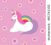 unicorn queen sleep rose kid... | Shutterstock .eps vector #481741102