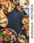 italian antipasti wine snacks... | Shutterstock . vector #481741816