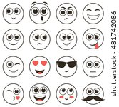 set of smiley faces isolated on ... | Shutterstock . vector #481742086