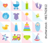 background with baby boy... | Shutterstock .eps vector #481742812