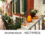 Pumpkins Near The Door During...