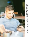 young man with mobile phone in...   Shutterstock . vector #481749856