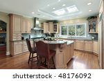 kitchen in luxury home with oak ... | Shutterstock . vector #48176092