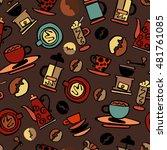 coffee background. coffee. set. ... | Shutterstock .eps vector #481761085