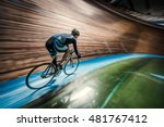 athlete with a bicycle at... | Shutterstock . vector #481767412