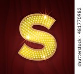 Gold light lamp bulb letter S. Sparkling glittering alphabet set design. Casino style gold letter