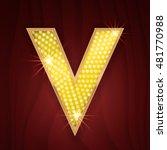 gold light lamp bulb letter v.... | Shutterstock .eps vector #481770988