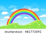 color rainbow with clouds grass ... | Shutterstock .eps vector #481772092
