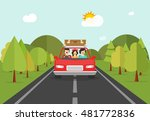 happy family trip by car vector ... | Shutterstock .eps vector #481772836