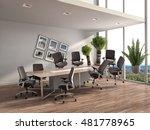 zero gravity in office interior.... | Shutterstock . vector #481778965
