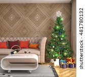 christmas tree with decorations ... | Shutterstock . vector #481780132
