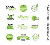 raw green food typeface.... | Shutterstock .eps vector #481791952