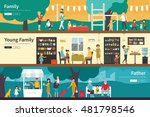 family young father flat... | Shutterstock .eps vector #481798546