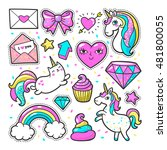 fashion patch badges with... | Shutterstock .eps vector #481800055