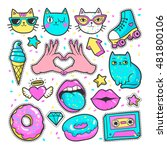 Stock vector fashion patch badges with lips hearts cats stars and other elements for girls vector 481800106