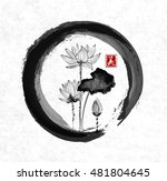 lotus flowers in black enso zen ... | Shutterstock .eps vector #481804645