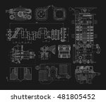 a set of technical drawings of...   Shutterstock .eps vector #481805452