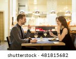 young couple in the restaurant... | Shutterstock . vector #481815682