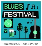 blues festival  flat style... | Shutterstock .eps vector #481819042