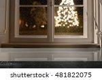window sill and xmas tree...   Shutterstock . vector #481822075