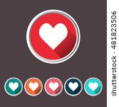 heart set icons  love icon flat ... | Shutterstock .eps vector #481823506