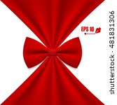 cloth background with red bow   Shutterstock .eps vector #481831306