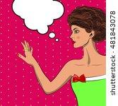 pop art pretty woman looking at ... | Shutterstock .eps vector #481843078
