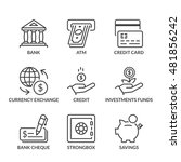 banking icons set  thin line ... | Shutterstock .eps vector #481856242